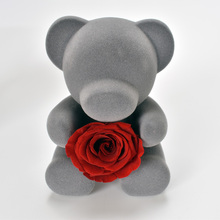 цена на Lovely Teddy Bear with Red Preserved Rose in Heart Best Valentines Day Gift For Girlfriend