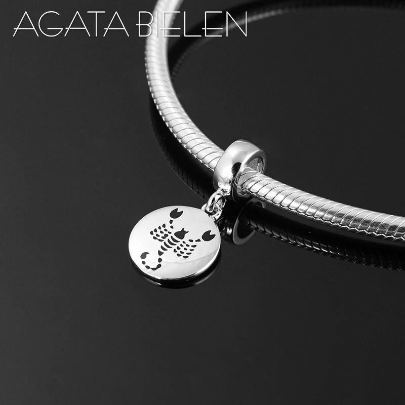 New 12 Constellation Zodiac Scorpio Pendants Charms Real 925 Sterling Silver Fit Original Pandora Charms Bracelet Necklace