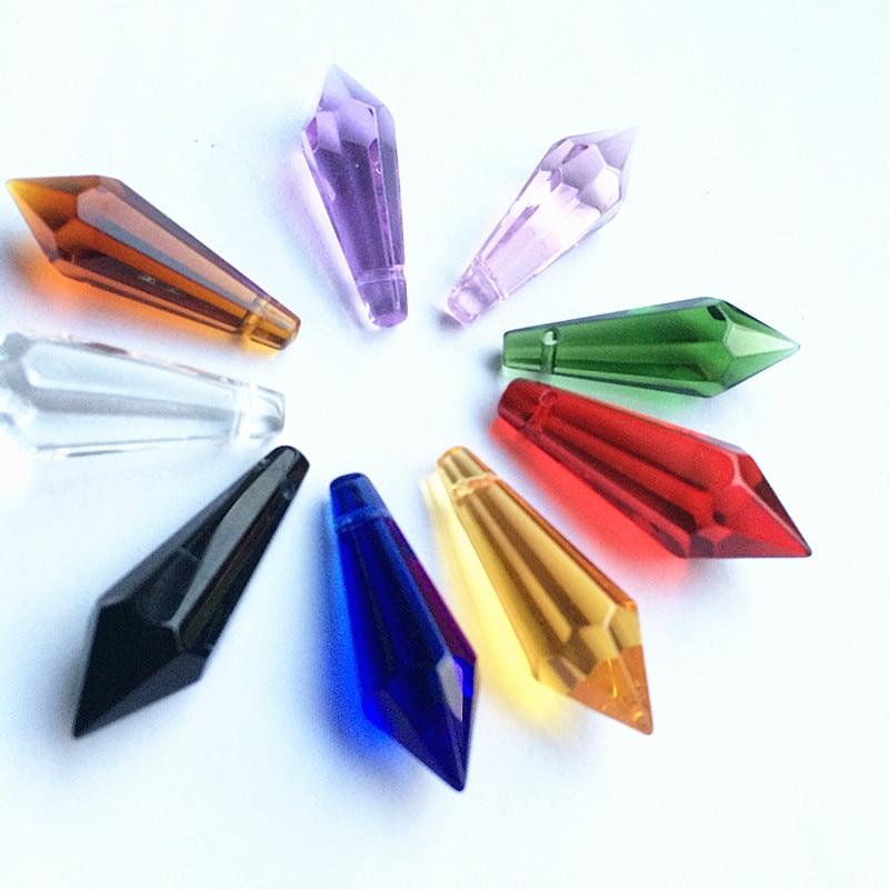 K9 Хрустальная люстра подвески призмы(бесплатное кольцо) многоцветная огранка и граненое стекло 36 мм u-сосулька капли для украшения торта - Цвет: Mixed Colors