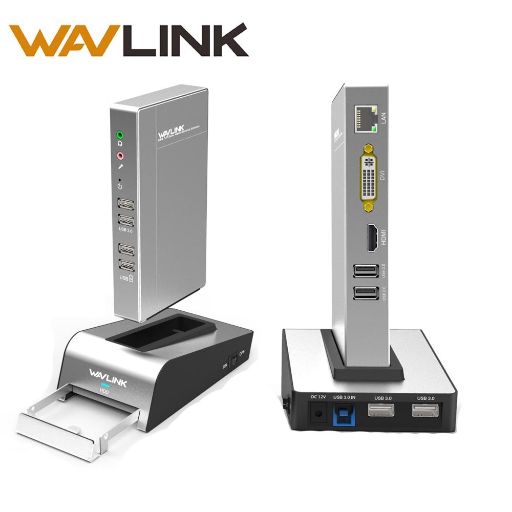 USB3.0 Gigabit Ethernet Universale Docking Station HDD e SSD Enclosure di Base Dual Display Video Supporta HDMI/VGA/DVI fino a 2048*1152