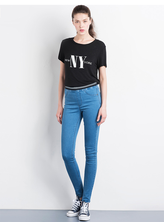 LEIJIJEANS Fashion Autumn Leggings Blue S 6XL Woman Mid Waist Plus Size women High Elastic Full Length Pants Skinny pencil Jeans 2