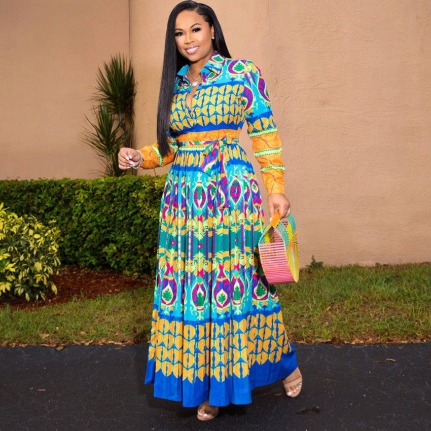 African Dresses For Women Robe Africaine 2019 African Clothing Dashiki Fashion Print Cloth Long Maxi Dress Africa Clothing