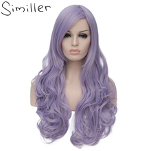 Similler 26inch Women's Cosplay Synthetic Hair Long Wavy Costume Party Full Wigs Light Purple
