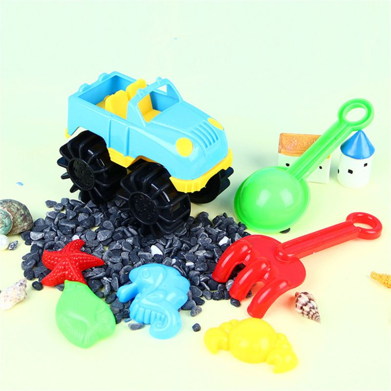 7pcs Beach Sand Toy Car Set Sand Mold Kids Summer Outdoor Gaming Toys