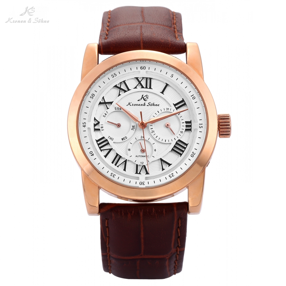KS Brand Imperial Roman Rose Gold Mens Day Date Male Clock Relojes Hombre Automatic Relogio Leather Band Mechanical Watch /KS323 ks brand white gold auto date day 24 hour display black leather male clock wrist automatic self wind men mechanical watch ks246
