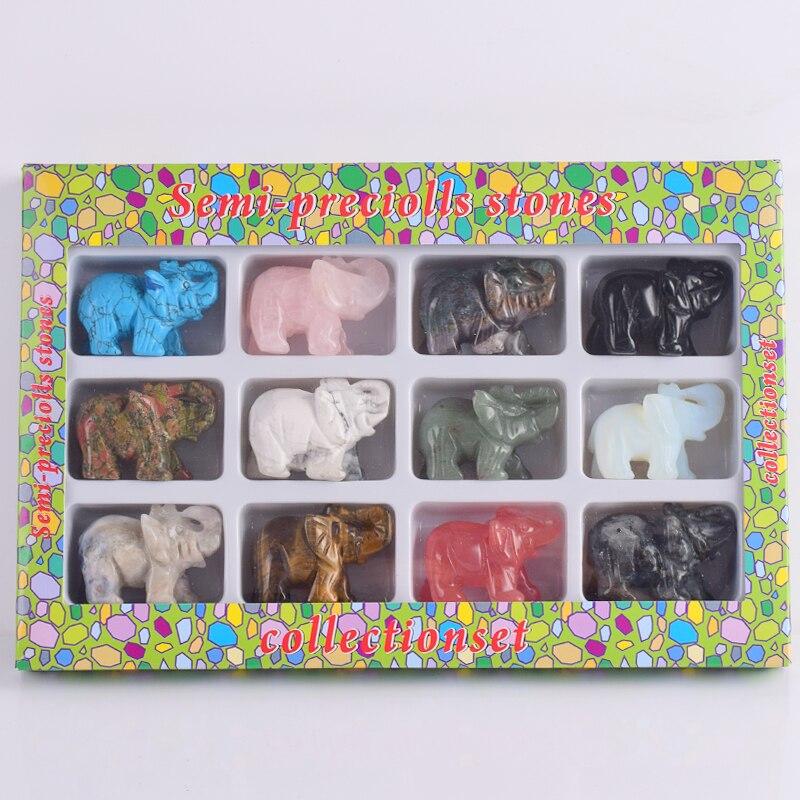 12 unidades / caja de 2 pulgadas mezclado Elefante Estatuilla - Decoración del hogar