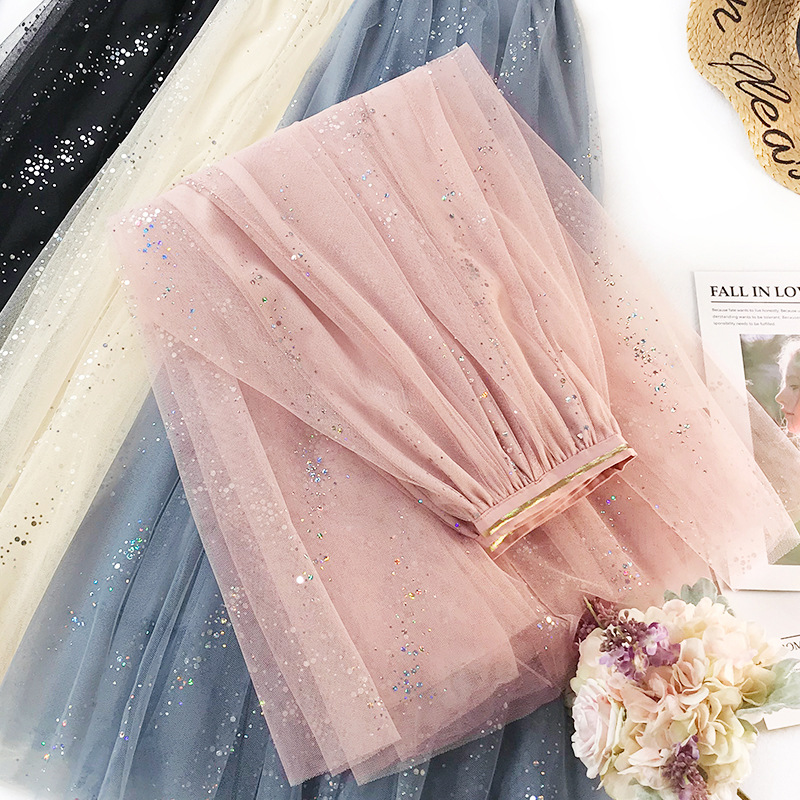 Fashion Shining Star Tulle Skirts Women High Waist Mesh Pleated Skirt Female Spring Party Tutu Skirt Saias Faldas Jupe Femme