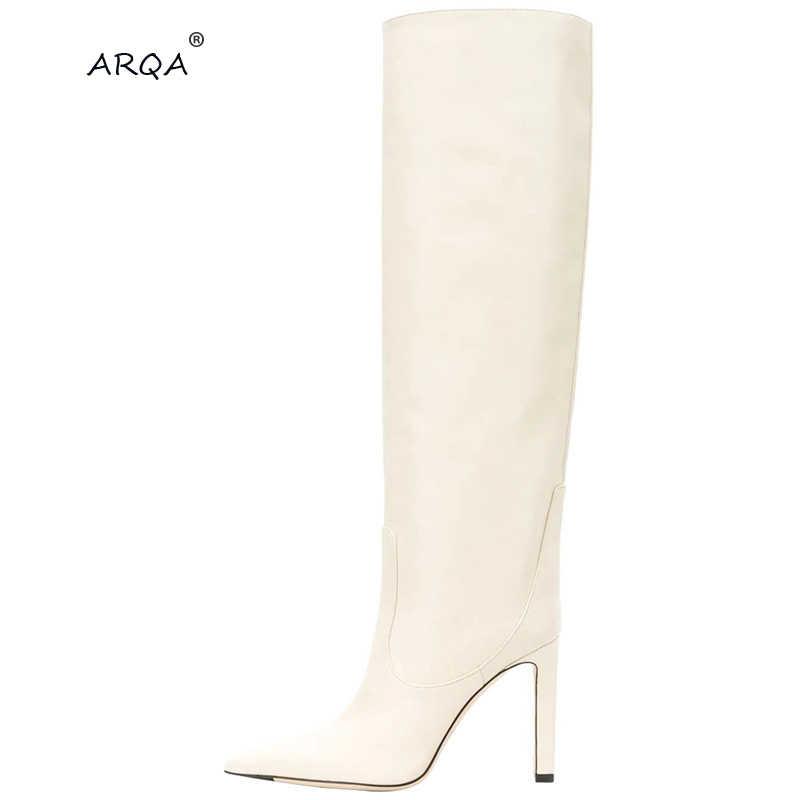 2019 yeni avrupa ve amerikan moda kol sivri yüksek topuklu kontrol bezi moda gösterisi orta ölçekli botları ve büyük boyutu