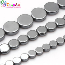 OlingArt 4MM/6MM/8MM Flat Round Beads AAA quality Natural Hematite Stone DIY Necklace/bracelet/earrings Jewelry Making