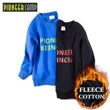 Pioneer Camp Kids New Autumn Winter 4~14T Boys Plus Polar fleece Sweater Outwear Cotton Sleeve Coat For Sweashirt