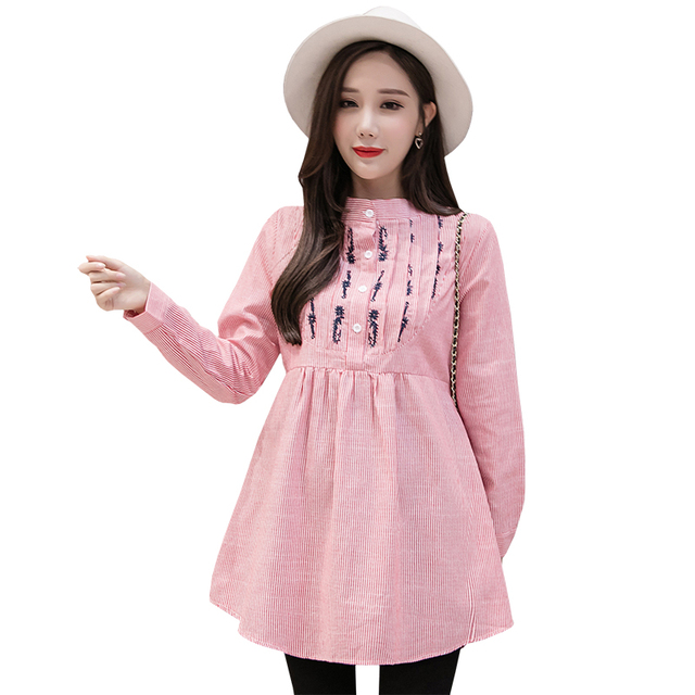 b4165a04c8d Pengpious fashion Korean style pregnant women clothing stripe shirts for  pregnant plus size long design empire embroidery blouse