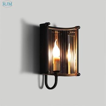 American Creative Retro Industrial Iron Mirror Wall Lamps for Living Room Bedroom Restaurant Bar Corridor Indoor Lighting Decor