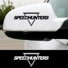 2pcs SPEED HUNTERS Inverted Triangle Rear View Mirror Car Sticker Car Whole Body Sticker Accessories Reflective Helmet Car Sport Truck Car Stickers(China)