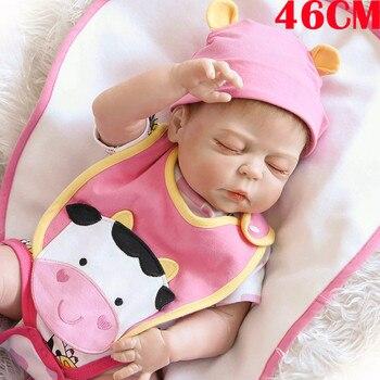 46cm Bebes reborn menina full vinyl silicone reborn baby dolls toys for children gift real baby sleeping girl dolls