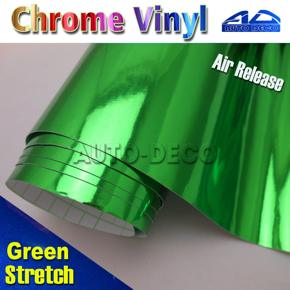 Stretch Green Chrome Vinyl Film for Car Wrapping Color Change Sticker Sheet with Air Channel FedEx Free Shipping 20m/roll quality guarantee silver chrome vinyl film for car wrapping sticker with air bubble free 20m roll