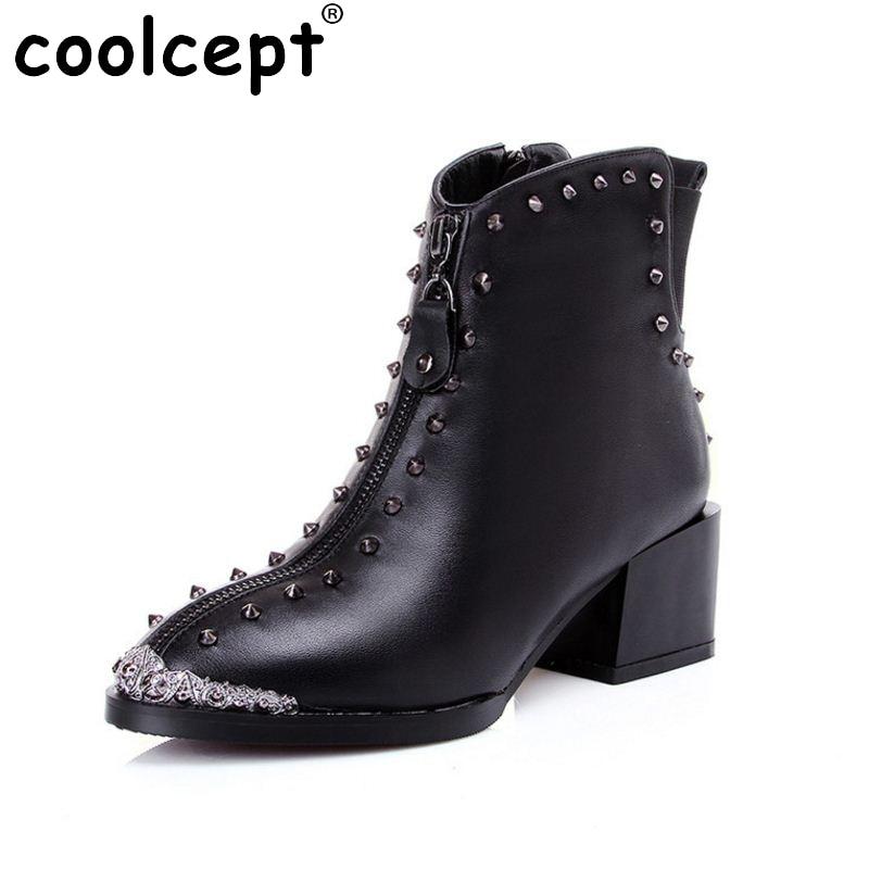 ФОТО women real natrual genuine leather martin high heel ankle boots half short bota winter boot warm footwear shoes R7340 size 34-42