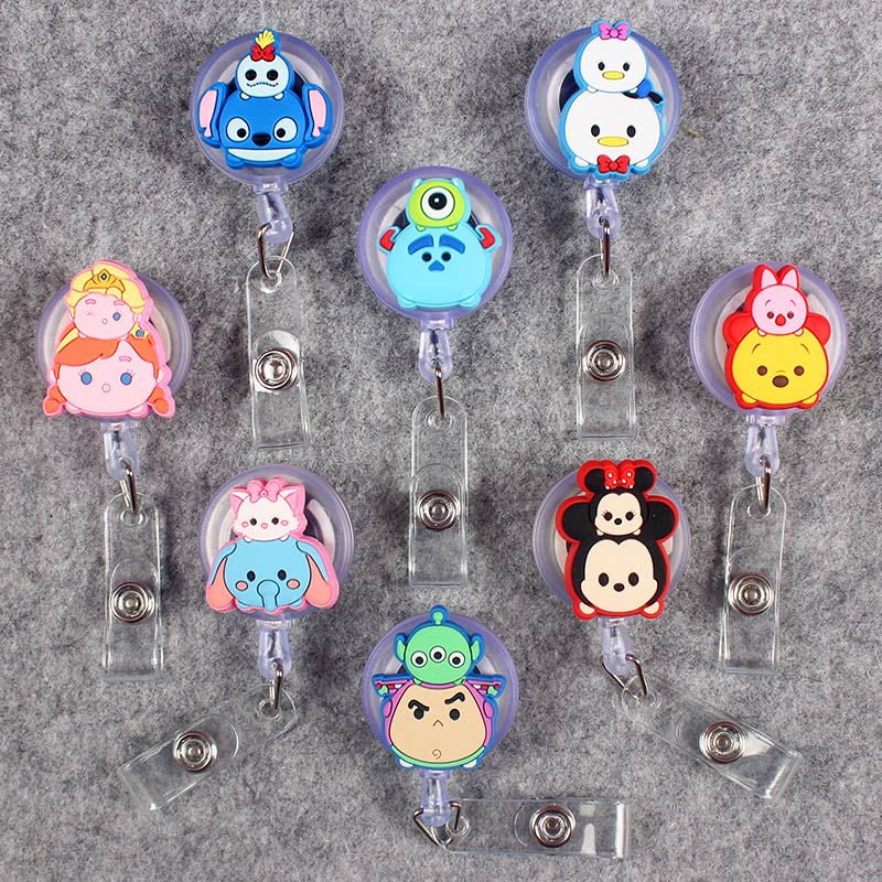 Double Faced Funny Clown Retractable Crocodile Bear Badge CardHolder Reel Nurse Girls Boys Exhibition Enfermera Name Card Chest in Badge Holder Accessories from Office School Supplies