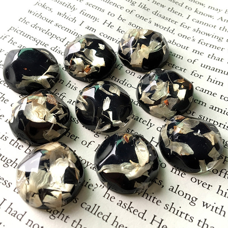 5pcs 20mm Irregular Resin Dried Flower Brooch Findings Diy Black Cabochon Bead Charms Handicraft Patch Earring Jewelry Make F103