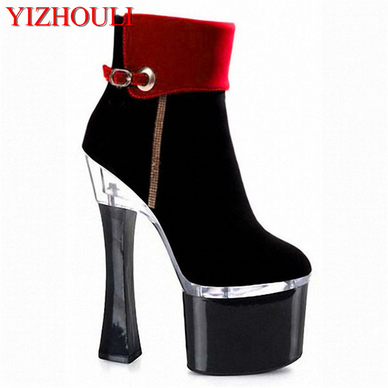 Women's sexy motorcycle Boots thick heel boots sexy 7 inch high-heeled pumps Punk color block 18cm High Heels Ankle Boots цены онлайн