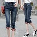 Nuevos vaqueros de Las Mujeres de primavera y verano de gran tamaño del estiramiento pantalones vaqueros skinny jeans Mediados de cintura pantalones de media pierna grasa hermanas XL 5XL