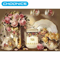 Diamond Painting Flowers Tea Set Embroidered With Rhinestones DIY 5D Pictures With Beads Beaded Pictures Embroidery