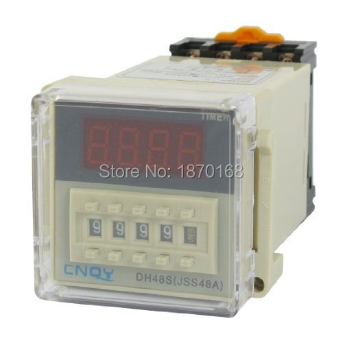 AC 110V SPST 8 P 0.01 S - 9999 H Timer Delay DIN rel waktu estafet, DH48S-1Z 3u soket