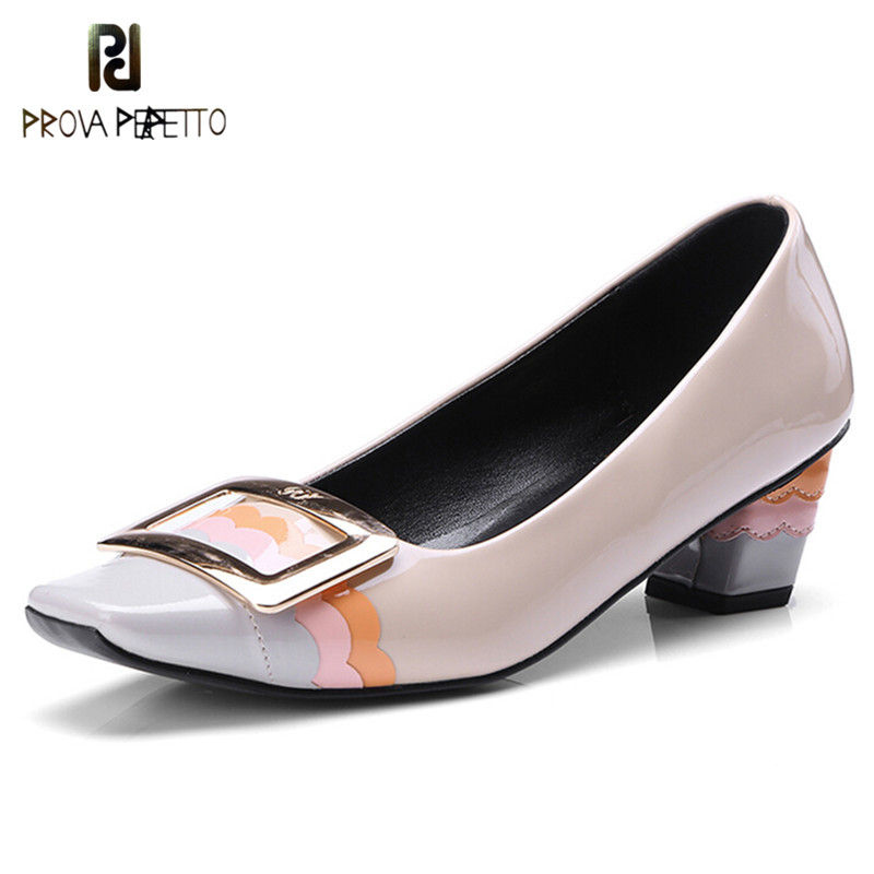 Prova Perfetto New Fashion Buckle Square Women Shoes Sweet Patent Leather Wedding Shoes Woman Spell Color High Heels Lady Pumps prova perfetto new women pumps high heels rhinestone flower wedding shoes woman sexy high heels party shoes sweet princess shoes