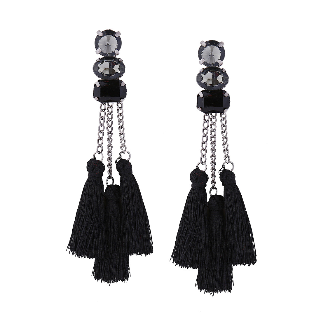 mezi romi filigree black crystal stud products earrings