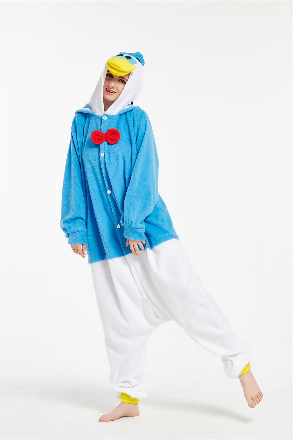 Adults Polar Fleece Kigurumi Donald Duck Cartoon Animal Onesie ...