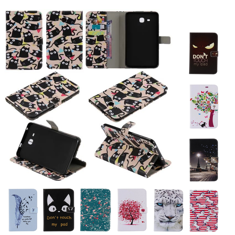 2017 New Cartoon Leather Case For Samsung Galaxy Tab A a6 7.0 T280 T285 SM-T280 Cases Cover Tablet Fashion Funda Stand Shell new listing luxury tablet shockproof case cover for samsung galaxy tab a a6 7 0 t280 t285 child fashion back cases stylus