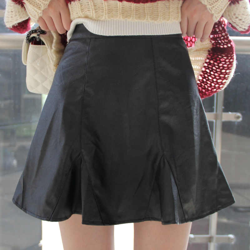 daf6545172a Hot Sale Autumn Winter Faux Leather Short Skirt Black   Wine Red   Khaki  Mini Skirt