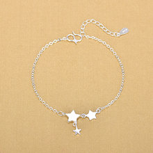 Silver Plated Anklets 925 Fashion Silver Jewelry Star Anklet for Women Girls Friend Foot Barefoot Leg Jewelry(China)