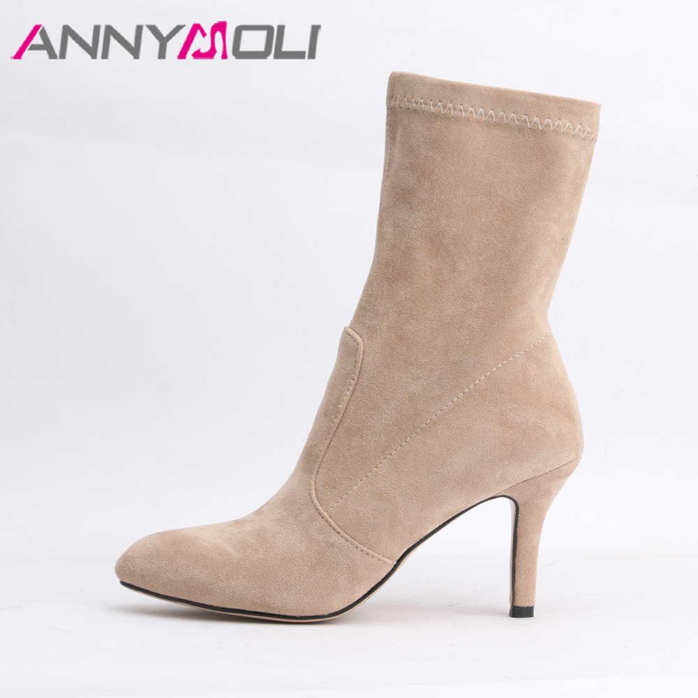 Ayakkabı Kadın Botları Yüksek Topuk sivri burun Orta Buzağı Çizmeler Streç Kumaş Elastik Marka Çizmeler moda kadın ayakkabıları Sonbahar 4 10