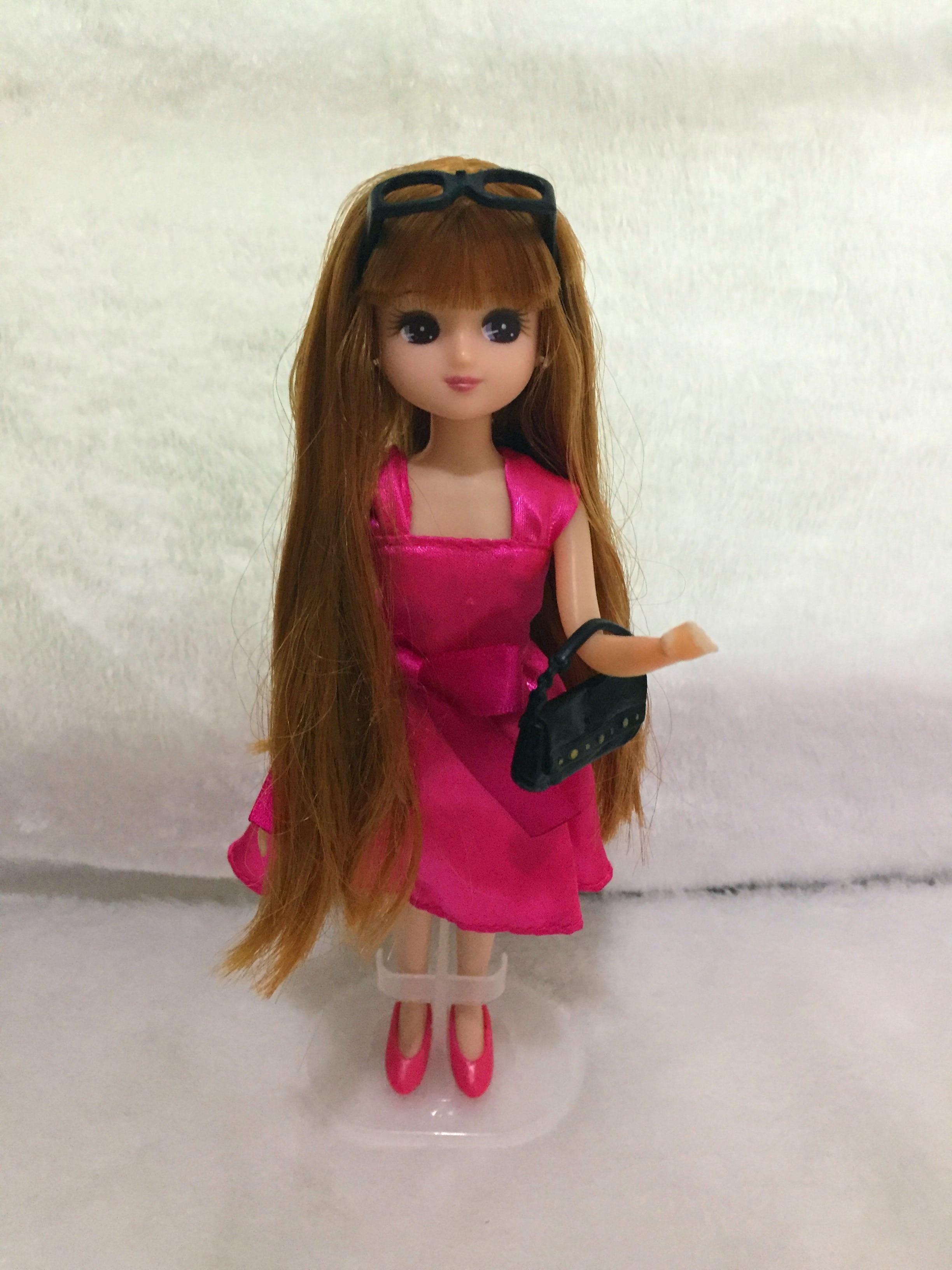 25cm whole doll head + body+ dress+ accessories long hair licca