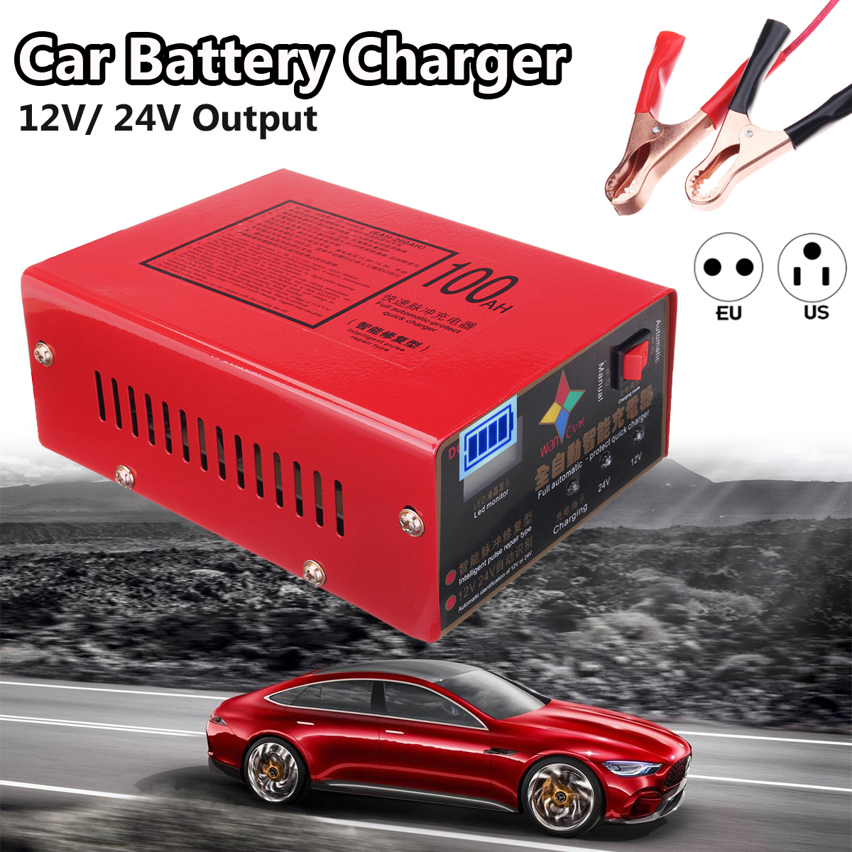 12V 24V Full Automatic Car Battery Charger Lead Acid Charger Intelligent Pulse Repair Type 100AH for Motorcycle Bus EU/US Plug