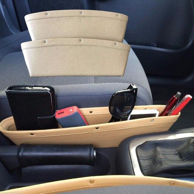 SEREQI boîte de rangement en cuir véritable   5 couleurs 1PC, multifonction pour siège de voiture, Crevice support de rangement, étui organisateur