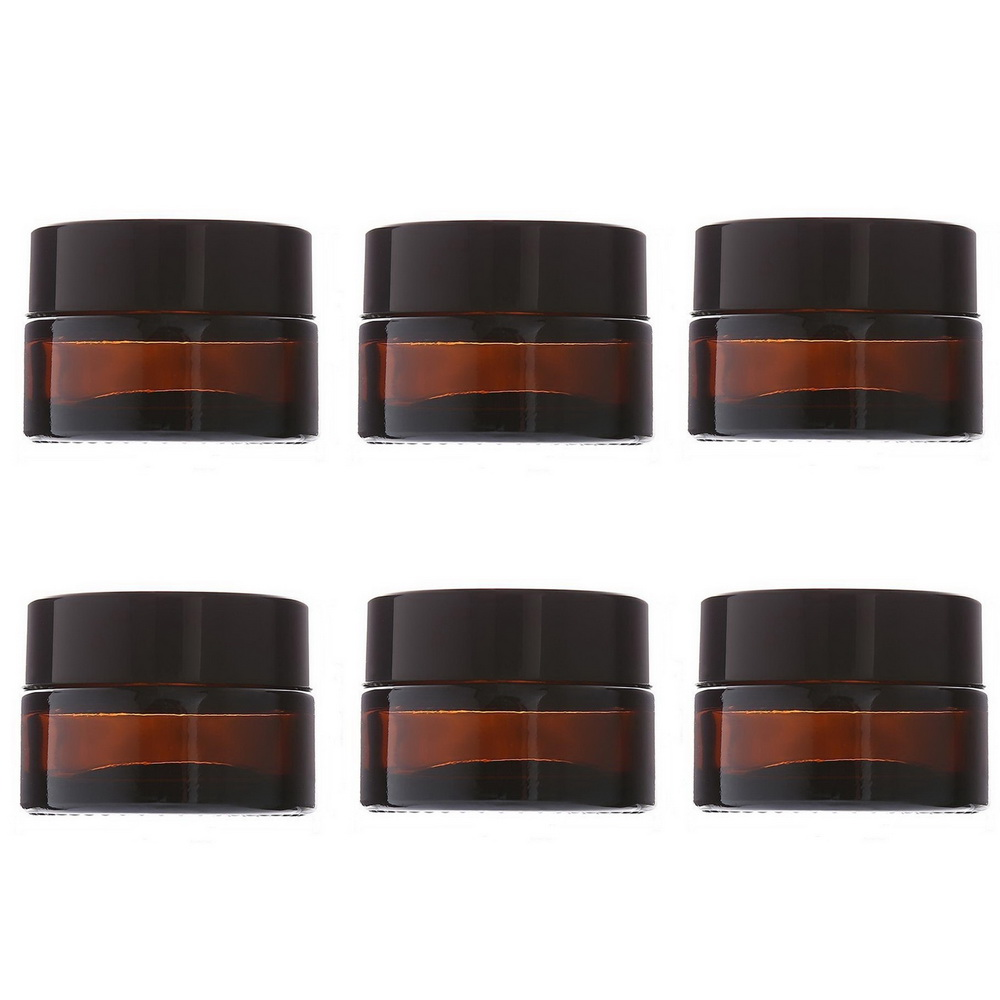 6pcs 20g Round Amber Glass Salve Jar with lid black plastic caps & inner liner empty cream jars cosmetic packaging containers 100 pcs lot of small glass vials with cork tops 1 ml tiny bottles little empty jars