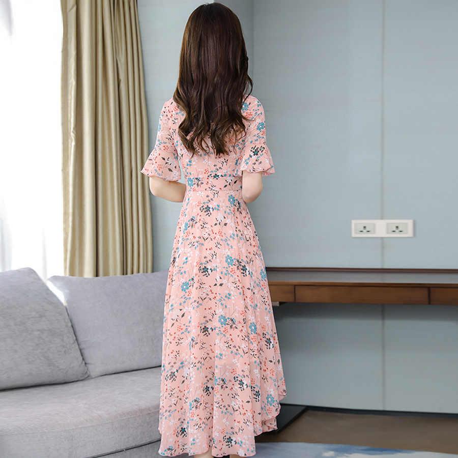 Летние розовые цветочные шифоновые Boho Макси сарафаны 2019 винтажные 3XL плюс размер пляжное платье с принтом женское обтягивающее элегантное на выход Vestidos
