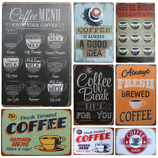 2017 Hot Chic Home Bar Coffee Menu Vintage Metal Signs Home Decor