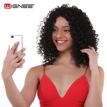 Wignee Afro Kinky Curly Synthetic Wig For Women High Density Natural Black Short Hair None Lace Purple African Americans