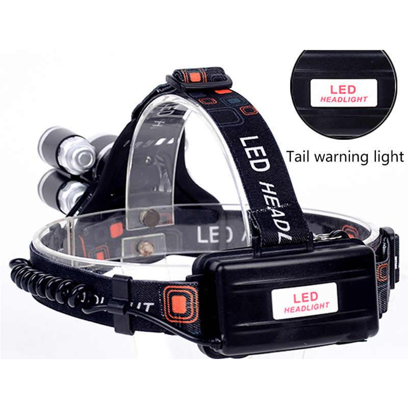 Yunmai 5000 لومينز كشافات 5 * LED XML T6 العلوي 4 وضع كشافات قابلة للشحن رئيس مصباح المصباح + 2*18650 بطارية + AC/شاحن