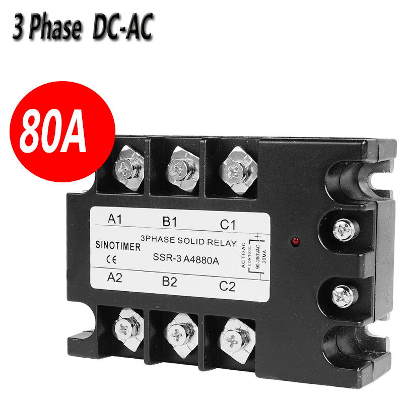SINOTIMER Brand 3 Phase Solid State Relay SSR D4880A 60A DC-AC Output Module Switch Relay relais for Controller 3 phase solid state relay 60da ac output 3 32v dc to 30 480v ac 60a module switch relay relais dc ac d4860a