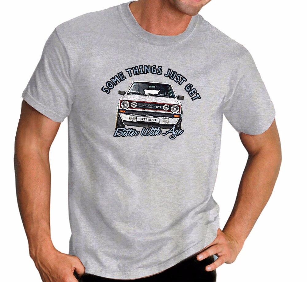 Summer 2018 100% Cotton Printed Hot Sale Pure Cotton MenS Golfs Gti Mark 1 Classic Car Hot Hatch Grey Tee Shirt