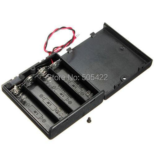 50pcs/lot 4 AA Black Plastic 4AA Battery Storage Case 4 X 1.5V AA