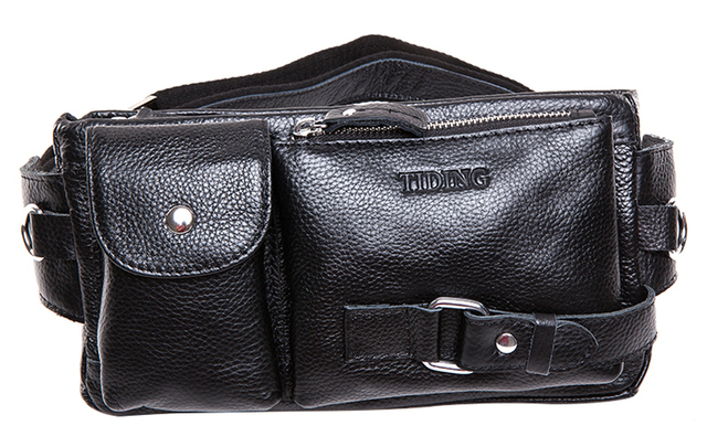 Black hip leather fanny packs belt with cell phone holder  on sale sport  waist bag free shipping TIDING 30871