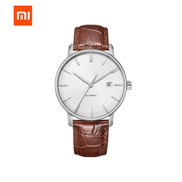 Original xiaomi mijia twentyseventeen relógio mecânico com superfície de safira pulseira de couro totalmente automático movimento mecânico