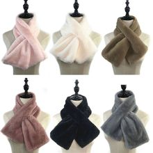 Women Winter Thicken Plush Faux Rabbit Fur Scarf Solid Candy Color Collar Shawl