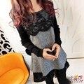 М-4XL Беременных Платья Для Беременных Одежда одежда Для Беременных Рубашки С Длинным Рукавом Кружева Свободные Дна