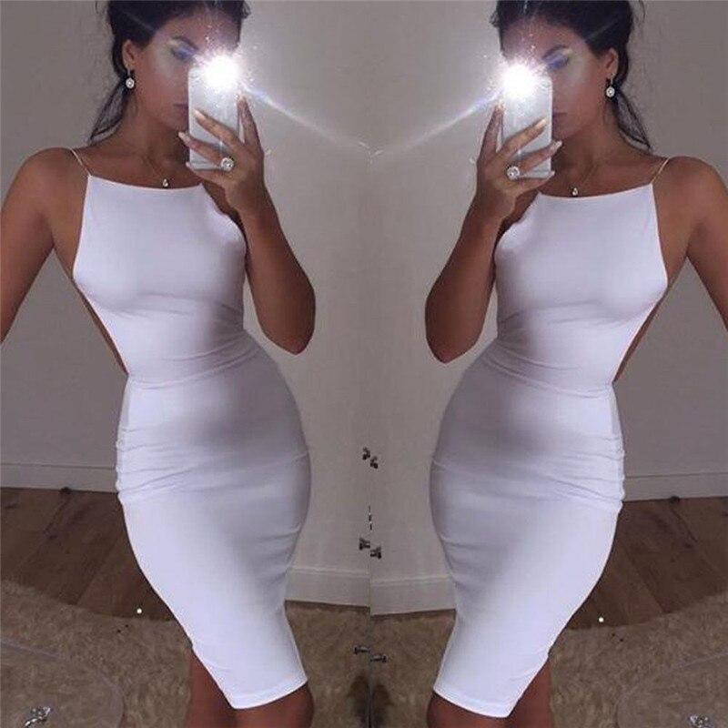 Sexy Womens Club Bodycon Kurzes Kleid Abendkleid Partei White Ärmellose Kleider Heißer Verkauf Damen Minikleid Clubwear Backless Kleider