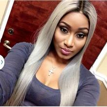Two Tone Synthetic Lace Front Wig Gray Grey Silver Ombre Wigs Dark Roots Heat Resistant Fiber Hair